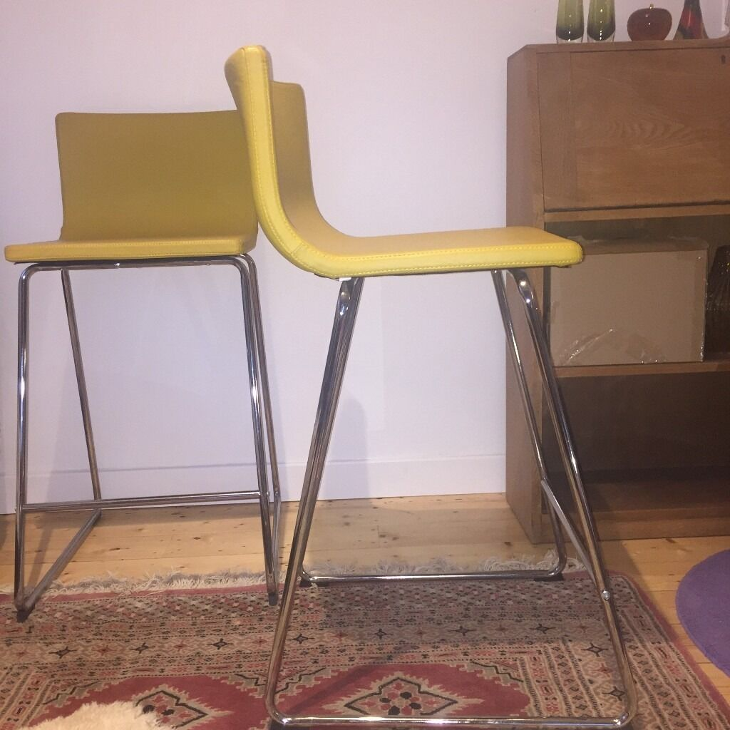 Top Yellow mustard leather Ikea Bernhard breakfast bar/cafe stools x 2  PK54