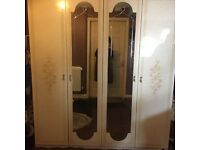 Second Hand Italian Furniture - 4 Door wardrob, Dressing Table, Mirror, Bed Frame and Bed Side.