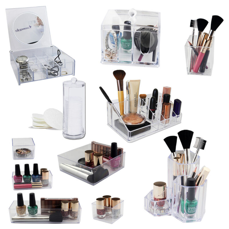 Crystal Acrylic Makeup Case Cosmetic Jewelry Box Storage Beauty Holder Organizer