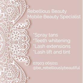 Mobile beauty lash lift lash extensions spray tanning