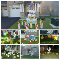 Birthday party signs, newborn annoucement storks for rent