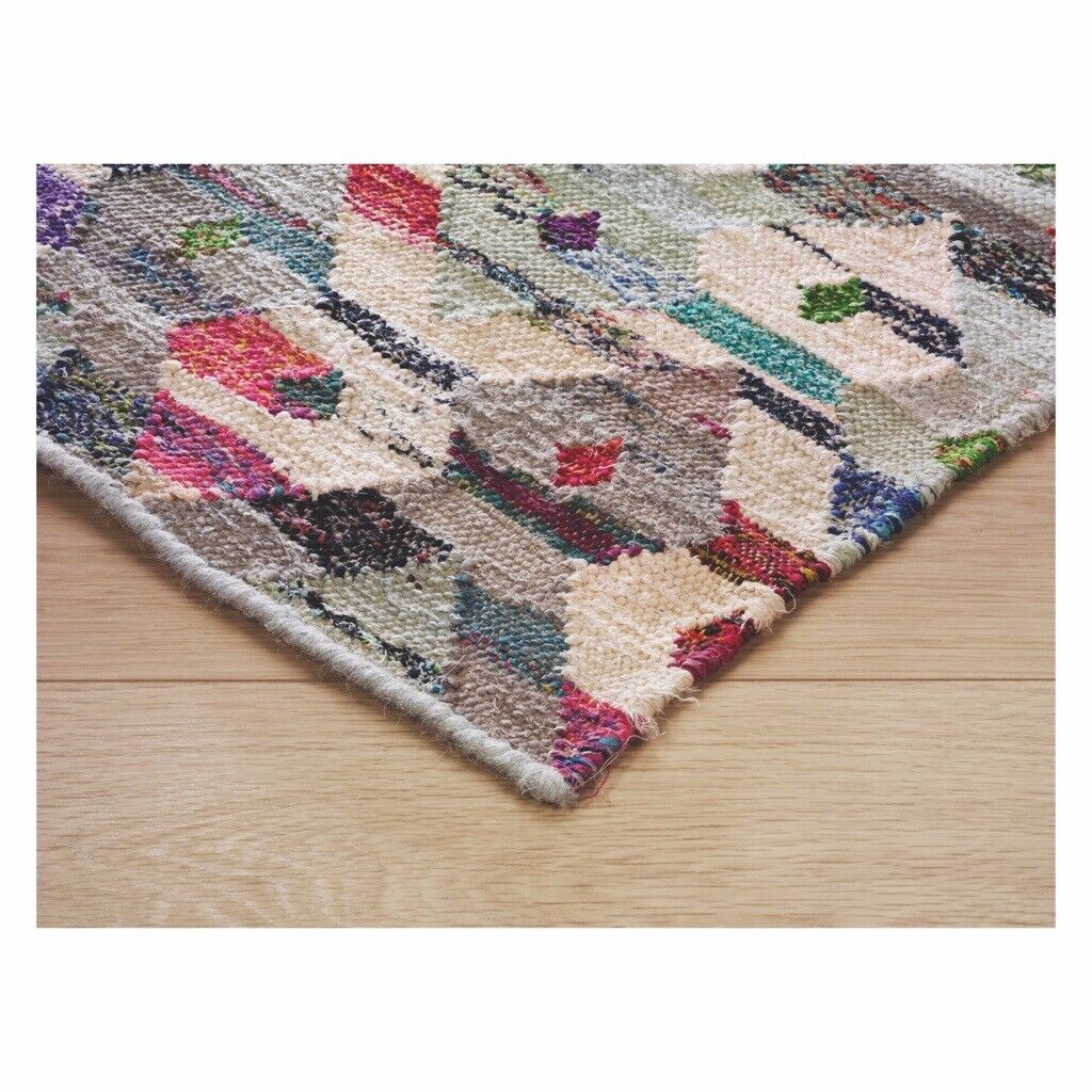 Habitat Trigas Large Multi Coloured Flat Weave Rug 170 X
