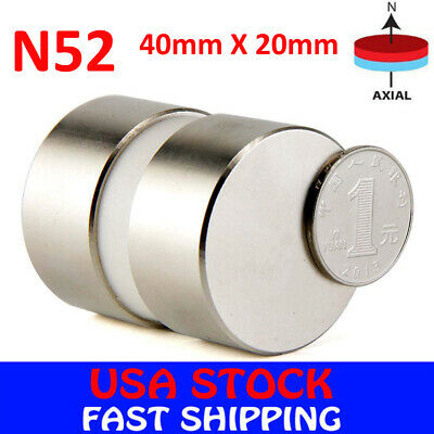 N52 Large Neodymium Rare Earth Magnet Big Super Strong Huge Size 40mm*20mm, used for sale  USA