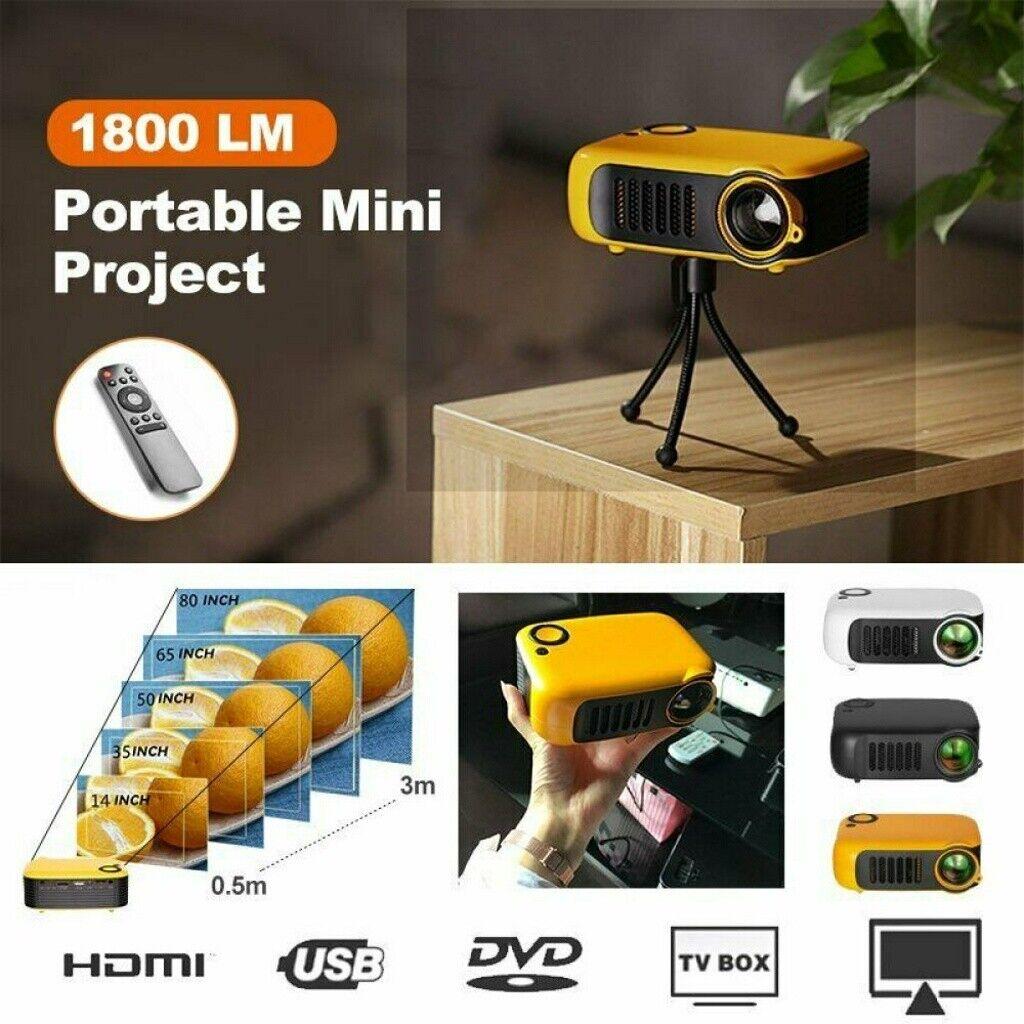 Tragbarer Mini LED Projektor HD 1080P Heimkino-Beamer Multimedia HDMI / USB / SD