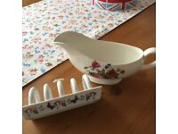 Vintage Gravy Boat and Toast Holder
