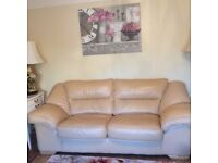 Sofa - 3 seater chunky soft leather sofa (NO CHAIRS)