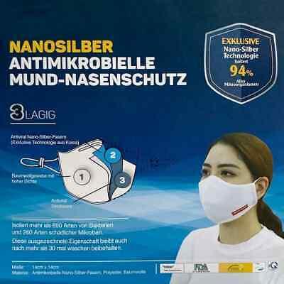 20 x NANOSILBER Atemschutzmaske Mund-Nasenschutz 3-lagig waschbar Antimikrobiell