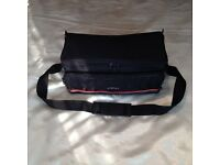 small camera bag with shoulder strap, colour black