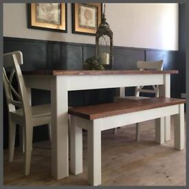 NEW HANDMADE PINE 5FT FARMHOUSE TABLE BENCHES AND CHAIRS
