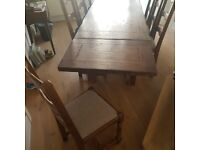 Dark Oak Dining Table, 8 Chairs and Extensions