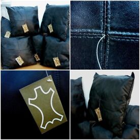 Leather Dark Chocolate Scatter Cushions Cushions. X 7 Brand New Tags. Genuine 100% Soft Leather.