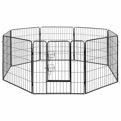 vidaXL Patio 8 Panel Pet Dog Playpen Outdoor Indoor Fence Exercise Cage Kennel