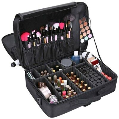 Pro Make Up Bag Vanity Case Cosmetic Nail Tech Storage Beauty Box Suitcase Large, used for sale  Shipping to Ireland