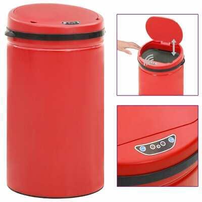 vidaXL Automatic Sensor Dustbin 50L Carbon Steel Red Kitchen Waste Dust Bin