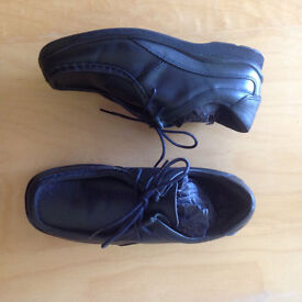 Brand New Black Leather Boys Shoes from Next size 2W School/Wedding/Christmas