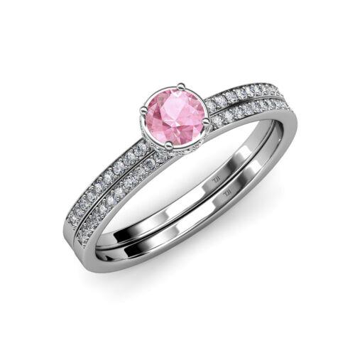 Pink Tourmaline & Diamond Halo Engagement Ring & Wedding Band Set 14k Gold