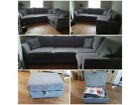 DFS grey corner sofa with footstool -SOLD