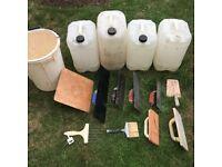 Job Lot Of Plastering And Rendering Trowels, Bucket, Floats