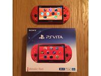 Sony PlayStation Vita Slim Metallic Red (Only Sold in Japan) & Rare 64GB Memory Card. Boxed, As New.