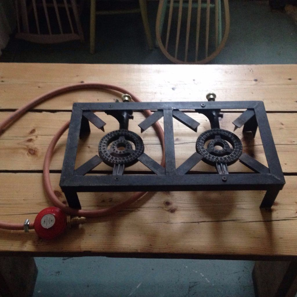 Cast Iron Double gas burner boiling ring stove Outdoor Camping ...