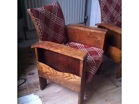 A Pair of Rare Antique Art Deco Library Chairs in need of TLC / Can Deliver