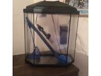 Tropical Fish Tank, Thermometer, Pump, Net & cleaner