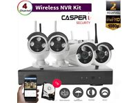 CASPERi 1080P 4CH WIFI Kit with CCTV Video Recorder NVR, Outdoor 2.0MP IP Cameras and 1TB HDD