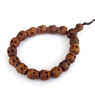 Tibetan Buddhist Jujube Wood Carved Skull Prayer Beads Mala Bracelet