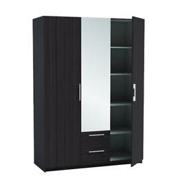 3 DOOR MIRRORED WARDROBE with 2 draws BLACK AND WHITE BRAND NEW 786