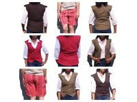 Selection of summer shorts (£4) and waistcoats (£20), sizes XS-L, made in India, unisex
