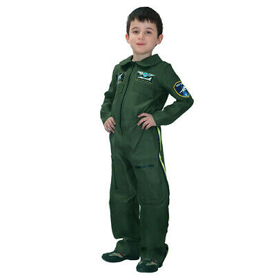 Kinder Jungen Air Force Fighter Pilot Overall Kostüm Flieger Outfit