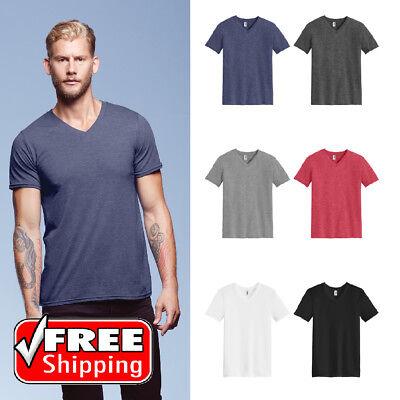 Anvil Mens Tri-Blend V-Neck Tee Soft Feel Comfort T Light Fashion T-Shirt 6752 Fashion Tri Blend T-shirt