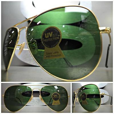 Men's CLASSIC VINTAGE RETRO Style SUNGLASSES Gold Metal Frame Green Glass (Sun Glass Styles)