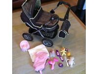 Silver cross little girls dolls pram with lots of accessories - excellent condition