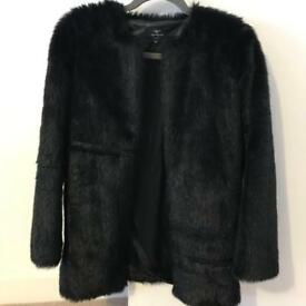 Girls black faux fur coat with zip *brand new condition*