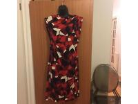 Diane Von Furstenberg DVF UK 8 Red Mixed Colours Sexy Party Dress Unique Design