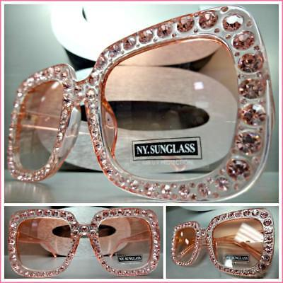 OVERSIZED VINTAGE RETRO Style SUN GLASSES Large Pink Square Frame Bling (Pink Square Glasses)