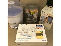 Advent steriliser, bottle warmer, bottles accessories and breast pump