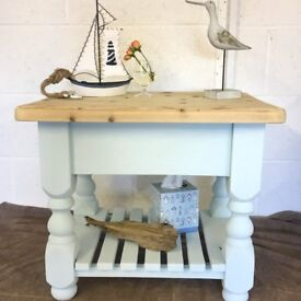 Handpainted Shabby Chic Coffee Table Duck Egg & Natraul Wood