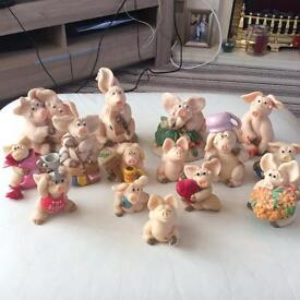 Set of 15 piggin collection figures