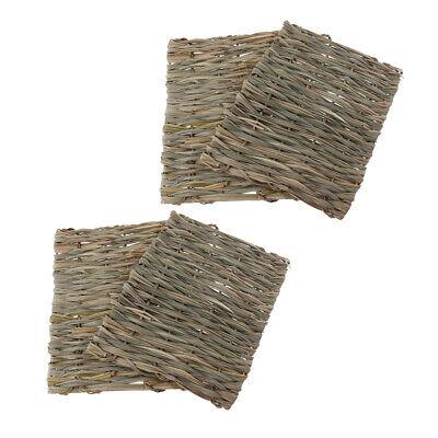 4x Natural Straw Mat for Rabbit, Hamster, Chinchilla, Small Pet Sleep Bed ()