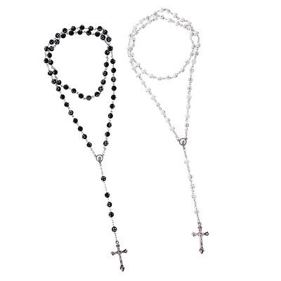 Men Necklace Alloy Catholic Jesus Cross 8mm Beads Rosary Long Chain Pendant Rosary Chain Pendant