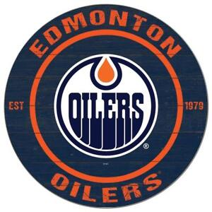 Edmonton Oilers 20 Inch Round Logo Design Wooden Wall Sign (New)