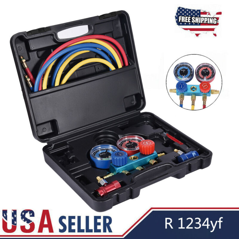 R1234YF HVAC Air Conditioning Aluminum Manifold Gauge Set W/