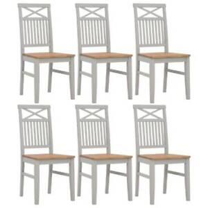 FREE SHIPPING Dining Chairs 6 pcs Grey Solid 7ITK3-BU6I5-276463