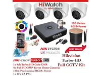 Hikvision HiWatch CCTV Kit, 4CH Hikvision Turbo-HD Cube DVR 500GB, 4x Hikvison 1080P Dome Cameras