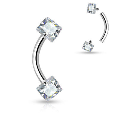 2pc SQUARE GEM Eyebrow RINGS Curve Bent Barbells EAR Rook Daith Piercing Jewelry Body Jewelry Eyebrow