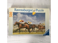 COMPLETE unused, sealed bag Ravensburger 500 piece puzzle Glorious Goodwood 14417 in original box.