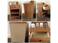 pine effect bedside telephone table small with small drawer and shelves