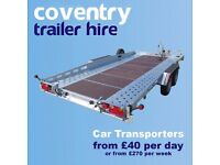 Car Transporter, Motorbike, Box, Camping, Utility, Plant Trailer Hire 24 Hours Rental